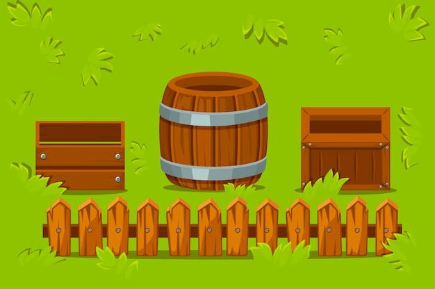 Caixas de madeira isoladas e barril na grama. clareira com uma cerca de madeira com recipientes vazios.