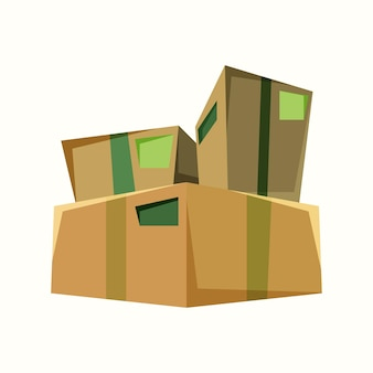 Caixas de mercadorias. ilustração vetorial em estilo simples