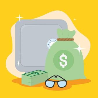 Caixas de notas e óculos de caixa de dinheiro