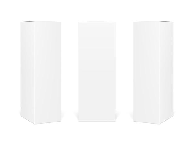 Caixas de papel em branco retangulares.