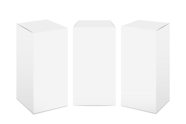 Caixas de papel. maquete de pacote de papelão branco, remédio retangular 3d realista e pacote de comida