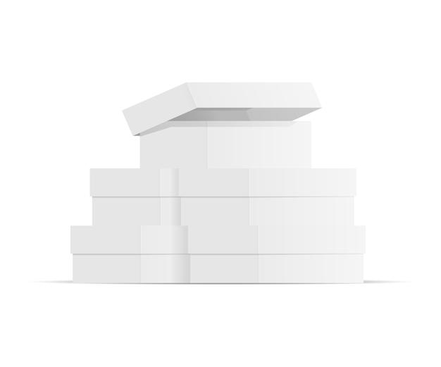 Caixas de papel realista, montanha de embalagem branca