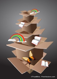 Caixas de papelão com arco-íris e borboletas