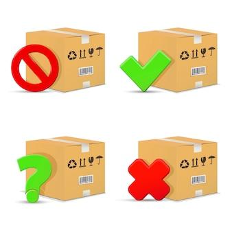 Caixas de papelão com sinais de parada e interrogação, marcas de seleção errada e certa