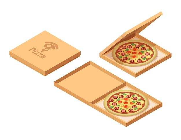Caixas de papelão de pizza em vista isométrica