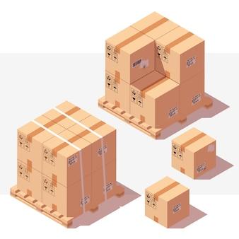 Caixas de papelão em paletes de madeira