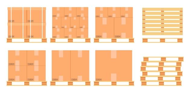 Caixas de papelão em um palete de madeira.