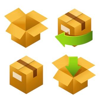 Caixas de papelão isométricas defina ícones.