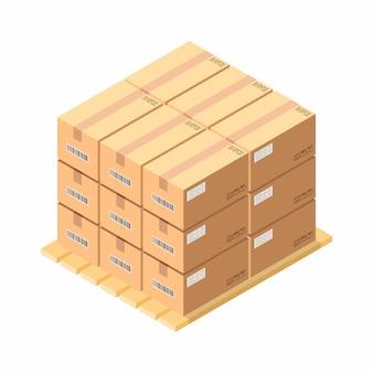 Caixas de papelão isométricas em paletes de madeira
