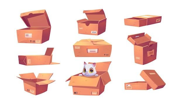 Caixas de papelão marrom com diferentes formas isoladas em branco