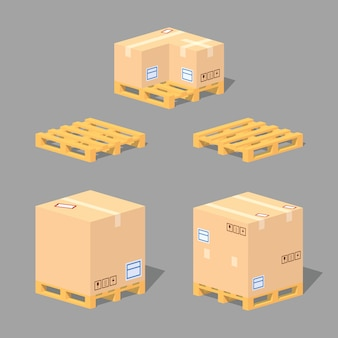 Caixas de papelão nas paletes. ilustração em vetor isométrica lowpoly 3d.