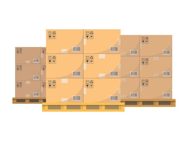 Caixas de papelão para transporte de mercadorias.