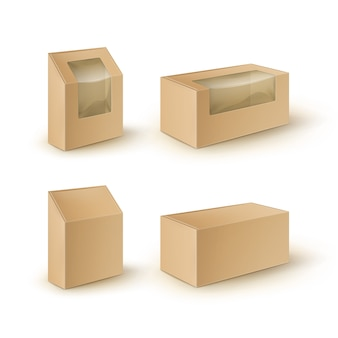 Caixas de papelão retângulo em branco marrom para retirar embalagens para sanduíches