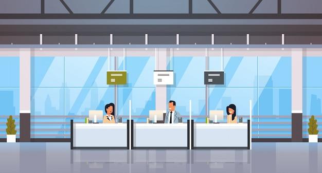 Caixas de pessoas nas janelas da mesa de dinheiro