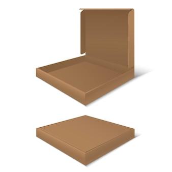 Caixas de pizza de papelão em branco. pacote vazio.