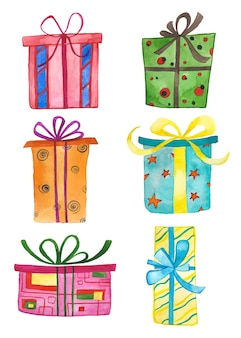 Caixas de presente de aquarela