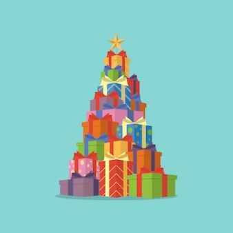 Caixas de presente de árvore de natal