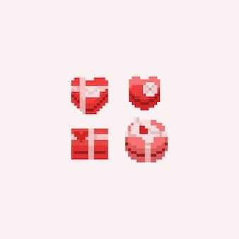 Caixas de presente de dia dos namorados de pixel. dia dos namorados.