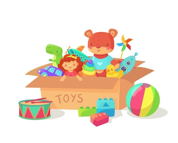 Caixas de presente de feriado de crianças com brinquedos de criança.