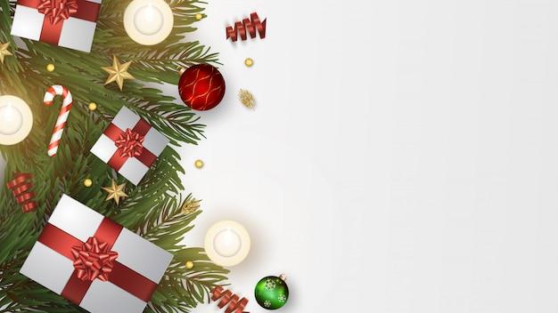 Caixas de presente de natal com decoração e enfeites