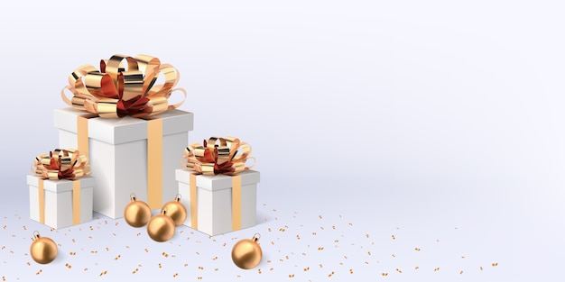 Caixas de presente de natal com laços dourados