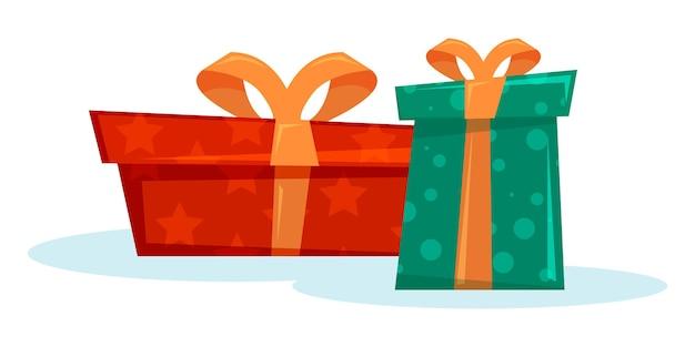 Caixas de presente de natal em design plano