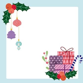 Caixas de presente de natal feliz e cartão de bolas penduradas