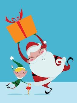 Caixas de presente de papai noel e elfo