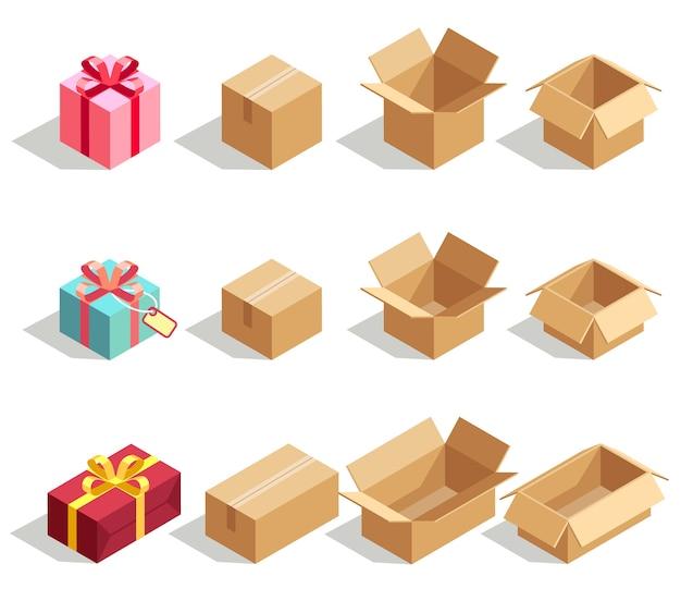 Caixas de presente de papelão abertas e fechadas