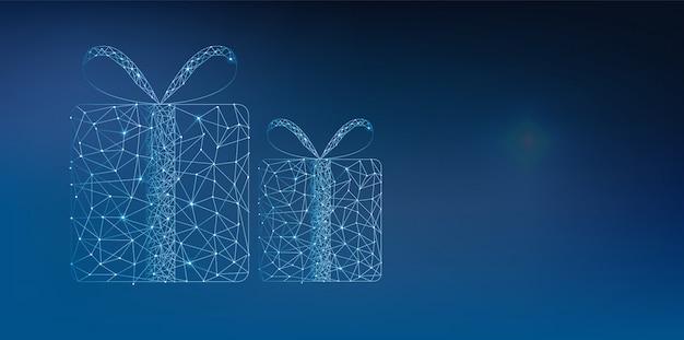 Caixas de presente de polígono azul