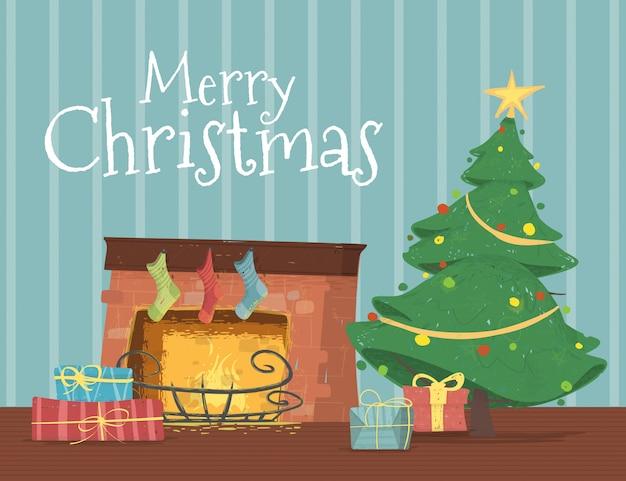 Caixas de presente deitado debaixo da árvore de natal decorada
