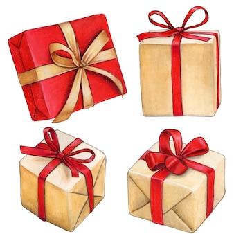 Caixas de presente desenhadas à mão em aquarela