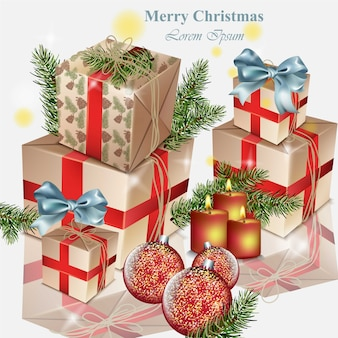 Caixas de presente e baubles, brinquedos de natal, ilustrações realistas