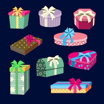 Caixas de presente e presentes conjunto com fitas.