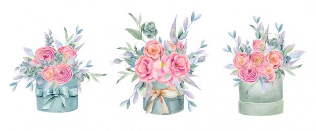 Caixas de presente isoladas em aquarela com lindas rosas, peônias, folhas verdes, bagas e ramos decorativos, pintados à mão