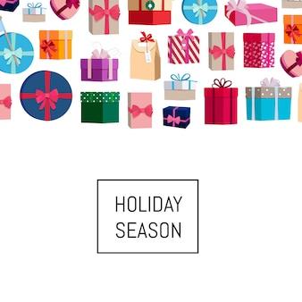 Caixas de presente ou pacotes com lugar para texto. banner empacotando aniversário e natal