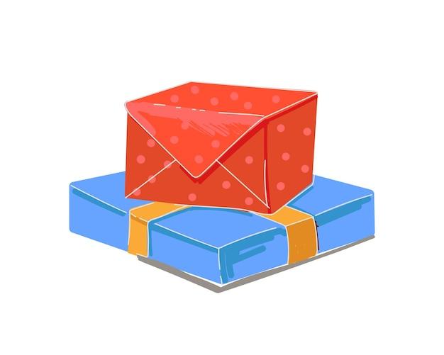 Caixas de presente vermelhas e azuis empilham embalagens de presentes de celebração com desenho de férias conjunto de fita