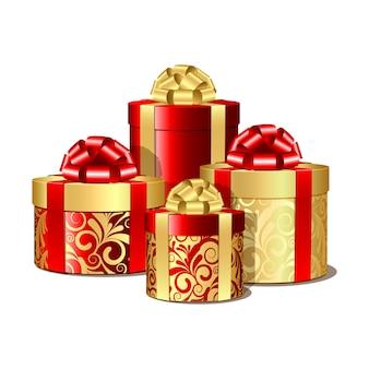 Caixas de presente vermelhas e douradas. ilustração