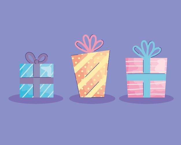 Caixas de presentes apresentam desenho de ilustração de ícones de aniversário acuarela
