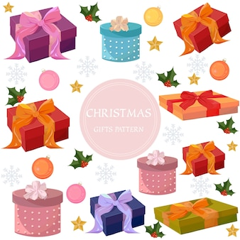 Caixas de presentes coloridas do feliz natal