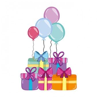 Caixas de presentes com balões festa de aniversário