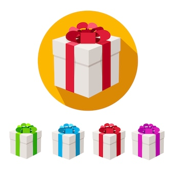 Caixas de presentes com fitas isoladas em branco.