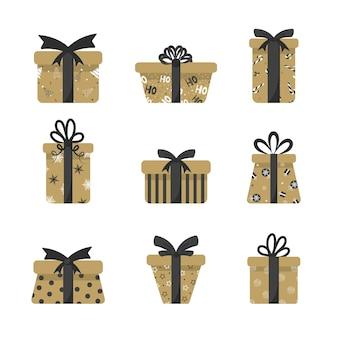 Caixas de presentes em dourado e tons escuros