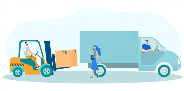 Caixas de remessa no caminhão e verificação de carregamento.