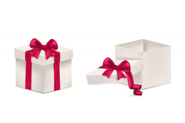 Caixas de surpresa com laço de vetor de fitas cor de rosa