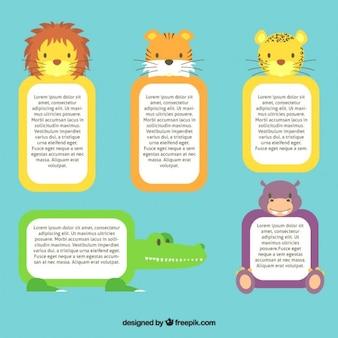 Caixas de texto com os animais selvagens bonitos