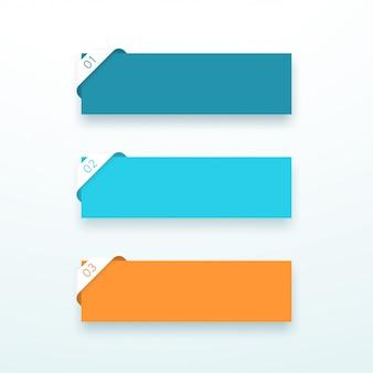 Caixas de texto número um a três conjunto de fita de canto