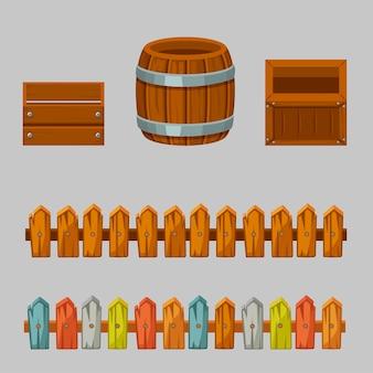 Caixas e barris de madeira vazios. conjunto de objetos de madeira e cercas.