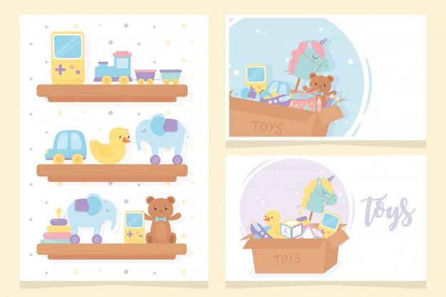 Caixas e prateleiras de madeira cartoon crianças brinquedos