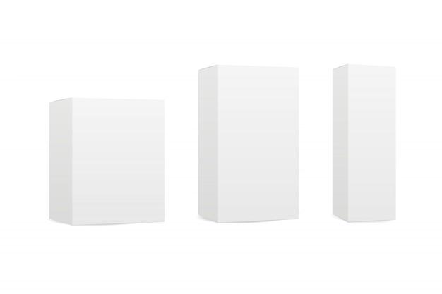 Caixas em fundo branco